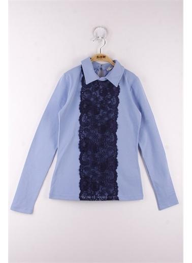 Toontoy Kids Toontoy Kız Çocuk Gömlek Yaka Dantelli Okul Tişört Mavi